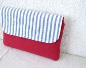Nautical Clutch purse flap striped
