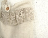 RESERVED - The French Romance Bag - natural linen and lace ruffle Tote, Messenger bag, Book bag, Market bag
