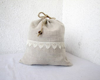 Linen and lace Drawstring bag gift bag reusable eco friendly