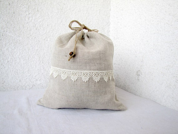 and lace Drawstring bag gift bag reusable eco friendly