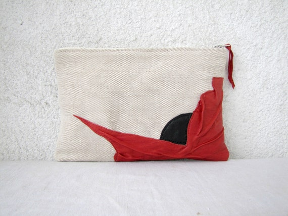 OOAK Clutch - Canvas and upcycled leather appliqué