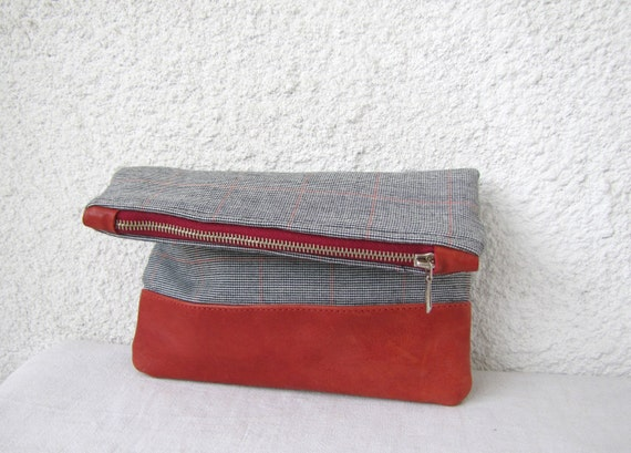 Fold over clutch Leather bottom and Vintage Wool Fabric