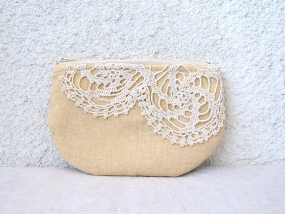 RESERVED for Cece Vous - Peachy Linen and  vintage doily small clutch, zipper pouch, cosmetic bag OOAK