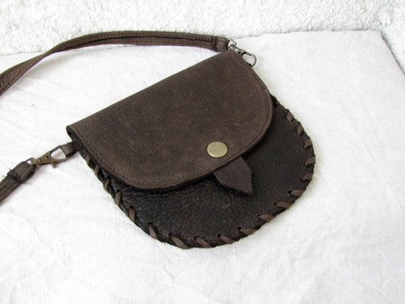 Small Handmade genuine upcycled leather  bag Black Friday Etsy Cyber Monday Etsy detachable strap-chocolate brown-pouch leather satchel