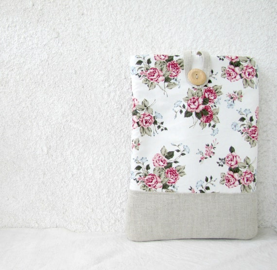 13 / 15 inch Laptop Sleeve Macbook Pro shabby chic roses romantic