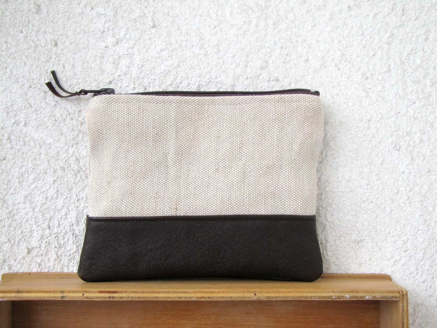 Canvas Zipper Pouch Clutch Purse Cosmetic Bag Upcycled