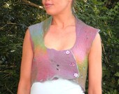 Felt Fairy Cropped Vest with Pointy Collar in Pretty Pastels