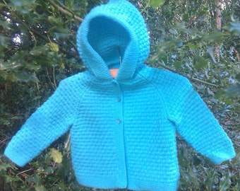 Baby's toddler's boy's girl's hand knitted lightweight blue hoodie jacket with pixie hood and mittens