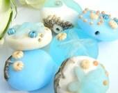 Lampwork bead set Sun Sea Beach - lentils - 6 pieces - SRA