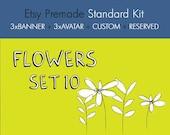 Sweet flowers  - OOAK Etsy premade shop standard kit - 8 pieces set09