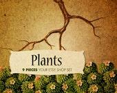 Plants  - OOAK Etsy premade shop standard kit - 9 pieces