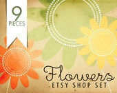 Flowers -  OOAK Etsy shop graphics set of 3 banners 3 avatars and more