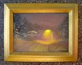 Sale - Winter night painting, snowy landscape, framed original art, snowy night cityscape, beige, taupe, yellow, snow, road, street light
