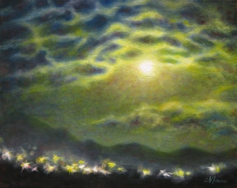 Night landscape art print, nocturnal skyscape oil painting reproduction, blue yellow full moon wall art