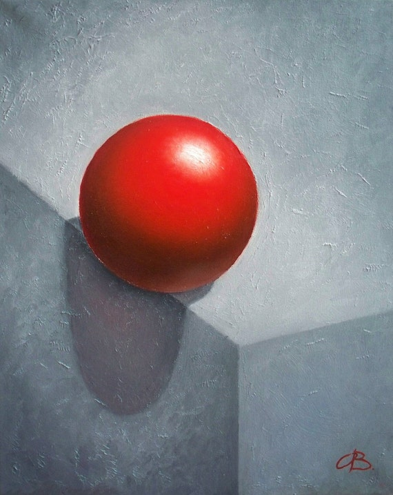 Red Ball Art Print, Abstract Geometric still life Oil Painting print, gray red wall art