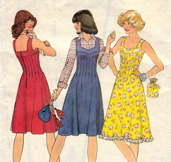 1970s Dress with Tucked Bodice & Bag Vintage Sewing Pattern - Simplicity 7437 Bust 36