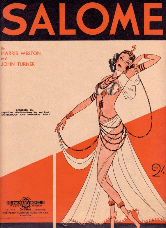 1941 Art Deco Vintage Sheet Music - Salome by Harris Weston & John Turner