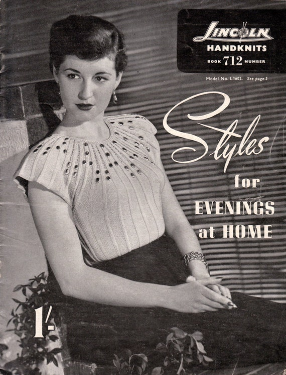 1950s Vintage Glam Sweater Knitting Patterns for Women - Lincoln Knitting Book 712