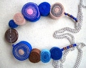 Blue and Brown Fetl Necklace With A Button