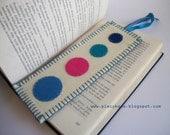 Solar System - White Blue Pink and Turquoise Large Felt Bookmark ooak