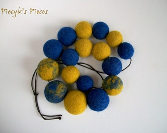 Mustard and Blue Felt Bead Necklace OOAK Handfelted