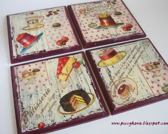 A set of 4 decoupaged coasters