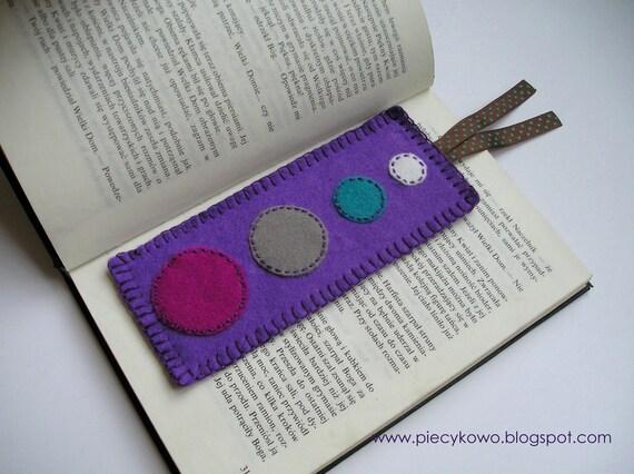 Purple Felt Bookmark With Circles
