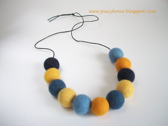 Sunny Sky - Yellow and Blue Felt Beads Necklace ooak