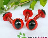 12mm Red Safety Eyes for Cat / Plastic Eyes - 5 Pairs