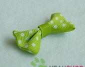 Nylon Ribbon Bows with Polka Dots - Green - 20 pcs