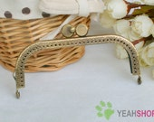 Antique Brass Embossed Purse Frame - Curve Cookie - 10.5cm / 4.1 inch (PF-14)