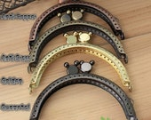 Half Round Mickey Embossed Purse Frame - 8.5cm / 3.3 inch (PF85-7) - Select a Color