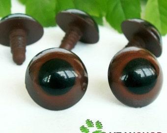 Brown Safety Eyes / Plastic Doll Eyes / Amigurumi Eyes - 2 Pairs - 21mm / 22mm / 26mm / 28mm / 30mm