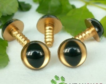 12mm Golden Safety Eyes for Cat / Plastic Eyes - 5 Pairs