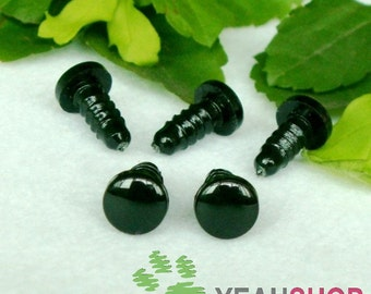 Black Round FLAT Safety Eyes Plastic Doll Eyes (BFE) - 10 Pairs - 4mm 6mm 7mm 8mm 9mm 10mm