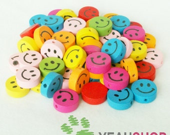 17mm Rainbow Color Smiling Face Wooden Beads - 1 Pack / 20 pcs (WB23)