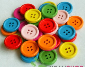 Rainbow Color Wooden Buttons - 20mm - 1 Pack / 20 pcs