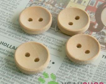 13mm Round Wooden Buttons - 20 pcs (WBT-3)