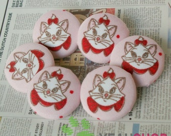 Fabric Covered Buttons - Pink Fabric White Cat - 23mm - 6pcs (FCB5)