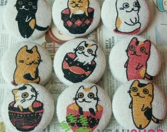 Fabric Covered Buttons - Yellow Red Cat - 25mm - 9pcs (FCB1)