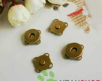 10mm Antique Brss Sew on Magnetic Snaps / Closures / Buttons - 10 Sets