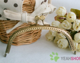 Antique Brass Embossed Purse Frame - Half Ellipse Cookie - 12.5cm / 5 inch (PF-15)