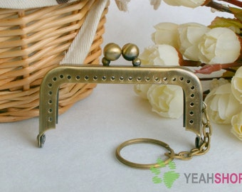 Antique Brass Purse Frame with Key Ring -  Rectangle Double Beads - 7cm / 2.8 inch (RPF-10)