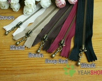 Antiqued Brass Metal Handbag Zippers - 40cm / 16 inches - Choose One Color