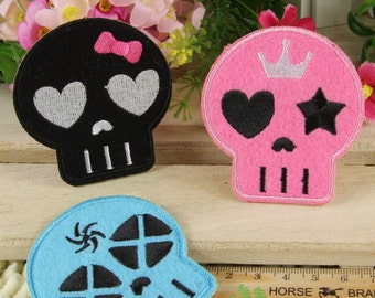 Iron on Fabric Patches - Horrible Skulls - Set of 3 - FP17