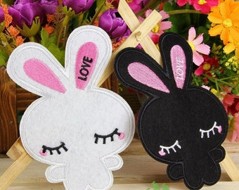 Iron on Fabric Patches - Black and White Bunnies - Set of 2 - FP2