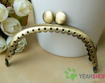 Antique Brass Purse Frame - Curve Lace-edge Cookie - 8.5cm / 3.3 inch (PF85-48)