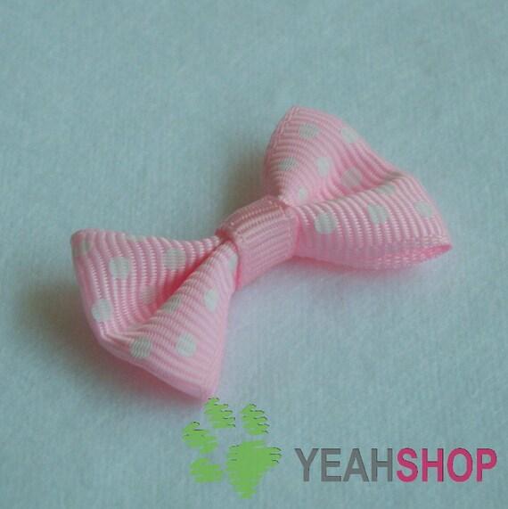 Nylon Ribbon Bows with Polka Dots - Pink - 20 pcs