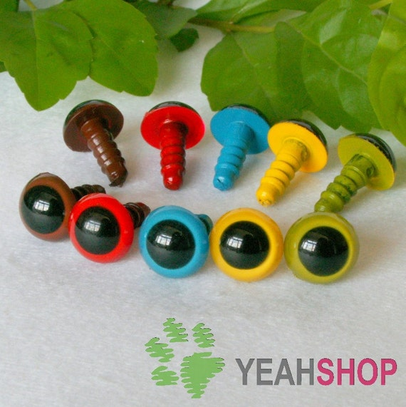 10mm Safety Eyes / Plastic Eyes - 10 Pairs - Mixed Colors