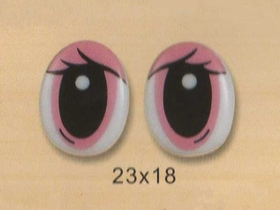 23mmx18mm Pink Comic Eyes / Safety Eyes / Printed Eyes - 2 Pairs